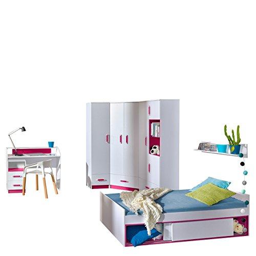 Mirjan24 Jugendzimmer Set Trafiko VI, 7-TLG. komplett, Farbauswahl, Eckkleiderschrank, 2X Regal, Schreibtisch, Wandboard, Jugendbett, Container (Weiß/Weiß + Rosa)