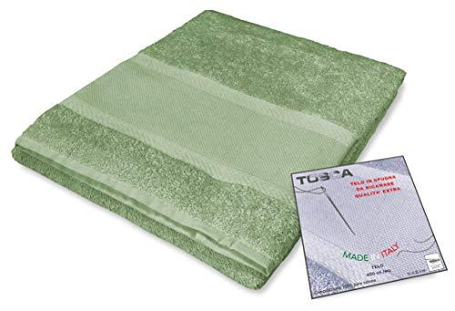tex family Frottee Tosca© Aida-Stoff zum Besticken Kreuzstich cm 100 x 125 - Grün