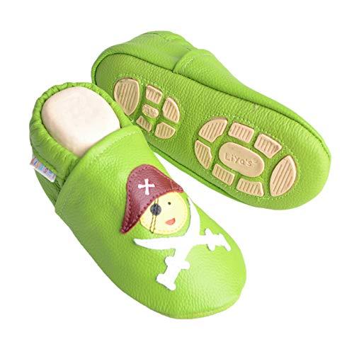 Liya's Babyschuhe Hausschuhe Exclusiv mit Gummisohle - #680c Pirat in olivgrün - Gr. 33/34
