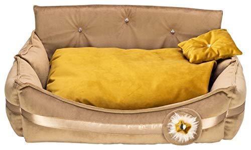 MOOI Luxus Hundebett Luxus Hundesofa Waschbar Hundekörbchen Exklusiv Katzenbett Haustierbett Hundekissen für kleine mittlere große Hunde I Dream I Gold