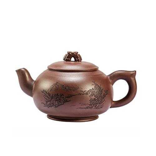 Chinesische Yixing Zisha Teekannen, Handgemachte Purpurrote Sand Teekanne, Chun Manyuhu, Große Kapazität Lila Ton Teekanne, Für Geschenk Und Haushalt, 530Ml