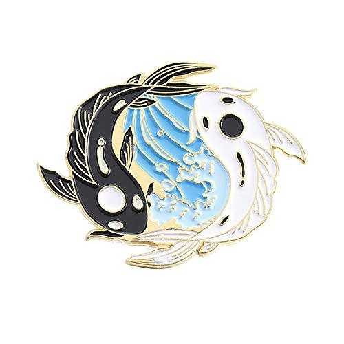 Regalo Goldfish Animal Fox Collar Accesorios Bisutera Broche Bagua Chart Broche Esmalte Badge(B)