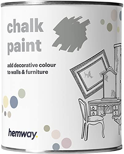 Hemway Dove Grey Chalk Paint Matt Finish Wall and Furniture Paint 1L / 35oz Shabby Chic Vintage Chalky...