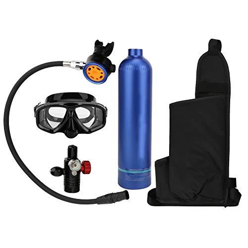 Alomejor Tanque de Buceo Tanque de Cilindro de oxígeno de 1L con Cabezales de válvula de respiración Secundaria de Metal Puro Durante 15-20 Minutos