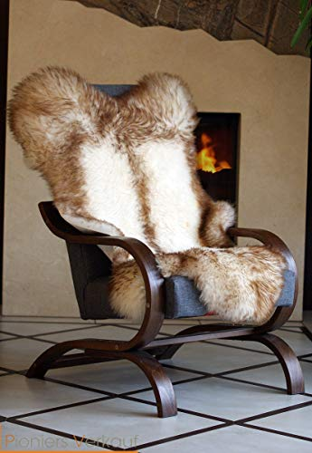Pioniers Verkauf XXL Echtes Schaffell Lammfell Teppich Naturprodukt pflanzlich gegerbt Ideal als Deko Sitzfell für: Gartenschaukel, Kinderzimmer, Schlafzimmer Dachsmuster 110-130 cm (120-130 cm)