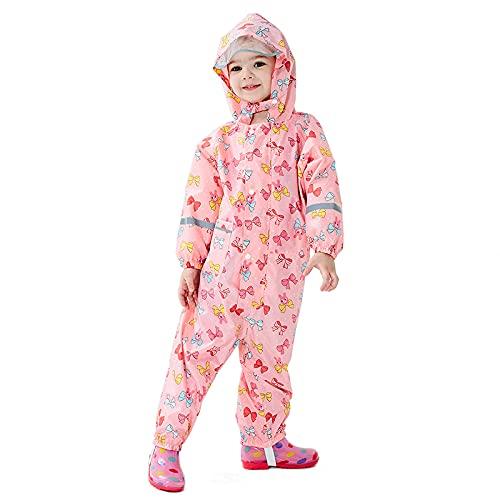 sdfae Impermeable para niños con imagen impresa completa estilo fino para niños y niñas, resistente al agua, se siente bien y ligero logo mariposa rosa XL