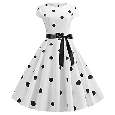 JustWin Ladies Vintage Polka Dot Print Dress Short Sleeve Bodycon O-Neck Evening Party Rockabilly Cap Prom Dress