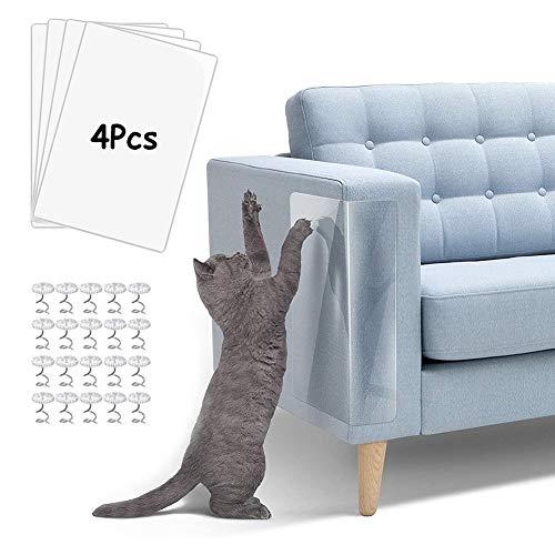 Couch Kratzschutz Katze Sofa, 4 Stücke Katzen Kratzschutz für Möbel, Kratzschutz Couch Möbelschutz mit 20 Schrauben, Transparent Selbstklebend Anti-Kratz-Pad für Sofa, Tür, Möbel, Wand, Doppelseitig