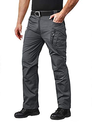 MAGCOMSEN Pantalones tácticos para hombre con 9 bolsillos Rip-Stop ligeros pantalones de senderismo de trabajo, cargo, 38, Caqui