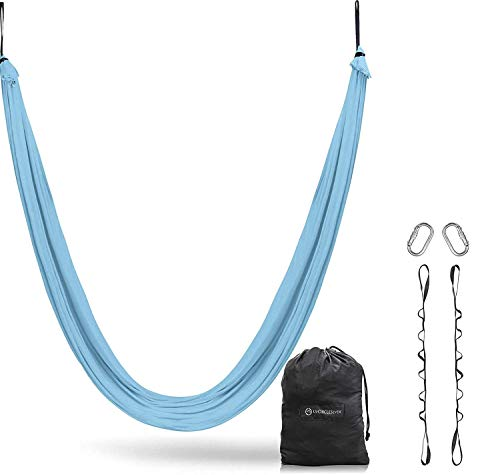 UpCircleSeven Aerial Yoga Hammock - Aerial Silk Swing Kit + Extension Straps & eBook - Sensory Swing - Antigravity Ceiling Hanging Yoga Sling - Inversion Hammock for Beginners & Advanced