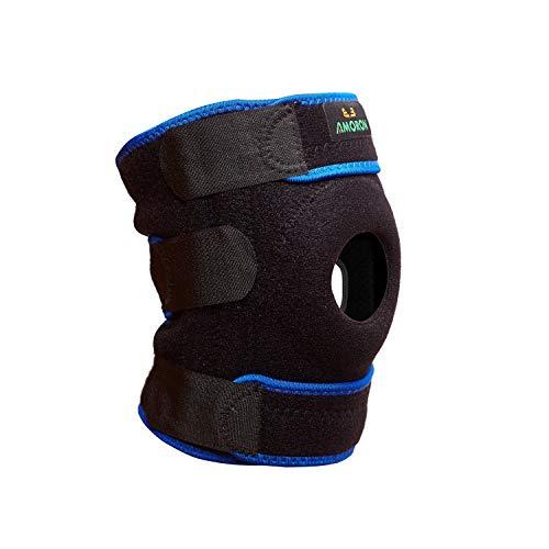 AMORON Knee Support Brace Adjustable Open Patella Non Slip Comfort Breathable Neoprene Straps for Meniscus Tear, Arthritis, Tendonitis Pain (Blue, L)