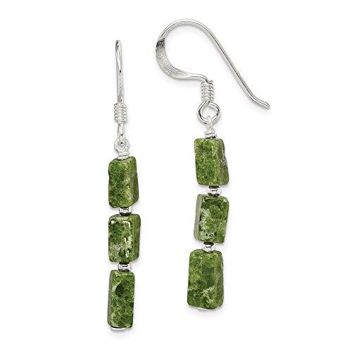 925 Sterling Silver Green Russian Serpentine Stone Drop Dangle Chandelier Earrings Fine Jewelry For Women Gifts For Her
