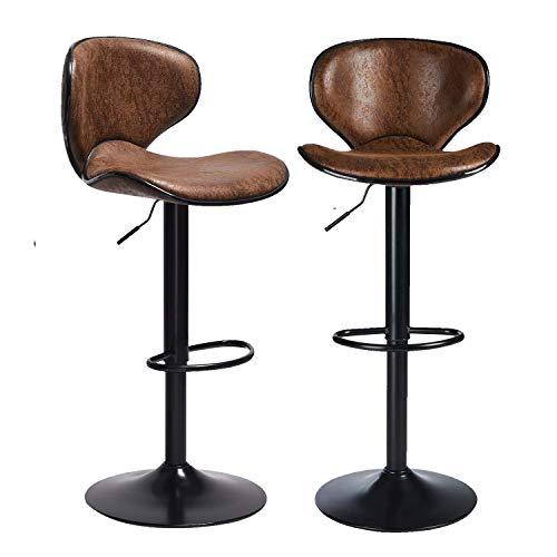 DICTAC Barhocker 2er Set höhenverstellbare Barstuhl mit Rücklehnen Tresenhocker Bistrohocker 360° drehbar Stuhl für Hausbar Tresenhocker belastbar bis 180kg