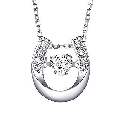 "Sterling Silver Dancing Heart Lucky Horseshoe Love Heart Necklace Gift for Women Girlfriend Daughter, 18"""