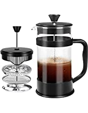 French Coffee Press, Black - 1000 ml / 1 Liter (32 oz) Espresso and Tea maker with triple filters, stainless steel plunger and heat resistant glass - by KICHLY (Zwart)