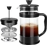 KICHLY [1,0 L/ 1000 ml] 8 cups Cafetière à Piston | Français presse café - Expresso et bouilloire avec Triple filtres piston en acier inoxydable (Noir)