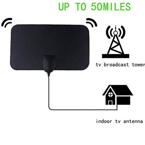 SuRose TV Antenne HD, 4K 25 DB High Gain HDTV DTV-Box Digital-TV-Antenne EU-Stecker 50 Miles Booster Active Indoor-Antenne HD Flaches Design