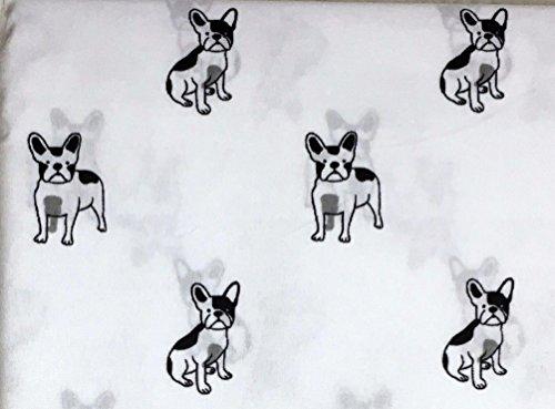 Cynthia Rowley French Bulldog Dog Queen Size Sheet Set 4 pc black and white - microfiber