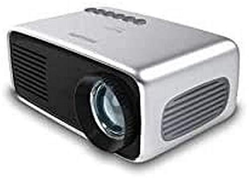 Philips Projection NeoPix Start+, Miniprojektor, 650 LED-Lumen, 60″ Bildgröße, integrierter Media-Player und eingebauter Akku, HDMI, USB, microSD, 3,5-mm-Audioausgang/-Kopfhöreranschluss, Grey
