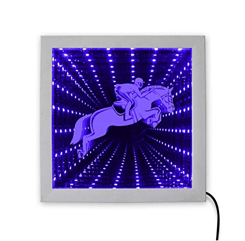Wangzhuoyue Pferderennen Farbwechsel Holzrahmen Reiten Reitsport Silhouette Animierte Neonlicht Led Tunnel Lampe Infinite Mirror