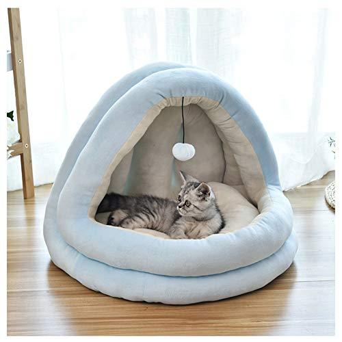 miaosss Donut Pet Bed, Dog Cat Round Warm Sofa, slaapzak voor katten, kussens voor bedden, kussens met mand, wasbaar, antislip, herfst en InvernoLake Blue-L