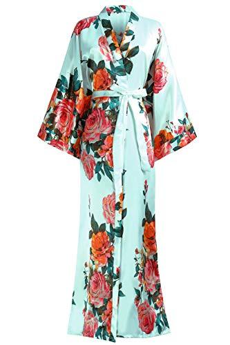 Coucoland Damen Morgenmantel Sommer Blumen Muster Maxi Lang Kimono Kleid Bademantel Damen Lange Robe Blumen Schlafmantel Girl Pajama Party 135 cm Lang (Hellblau)