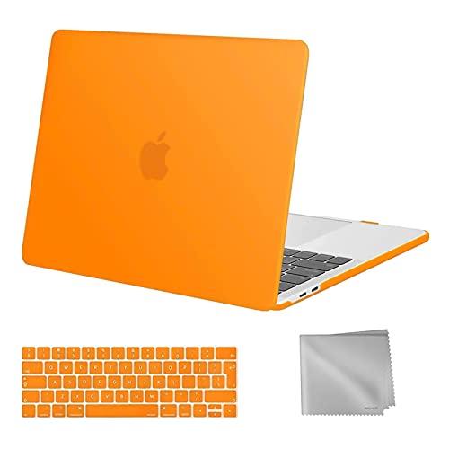 MOSISO Compatibile con MacBook PRO 13 Pollici Case 2020-2016 A2338 M1 A2289 A2251 A2159 A1989 A1706 A1708, Custodia Rigida in Plastica&Tastiera Cover&Pulire Il Panno, Arancia