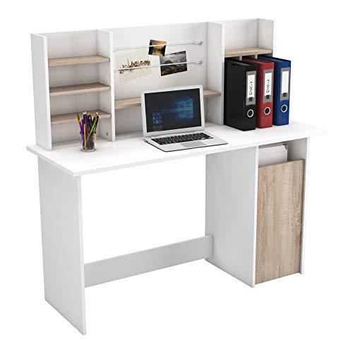 Mesa de Ordenador Escritorio con altillo 135cm. Blanco y Roble. para habitación...