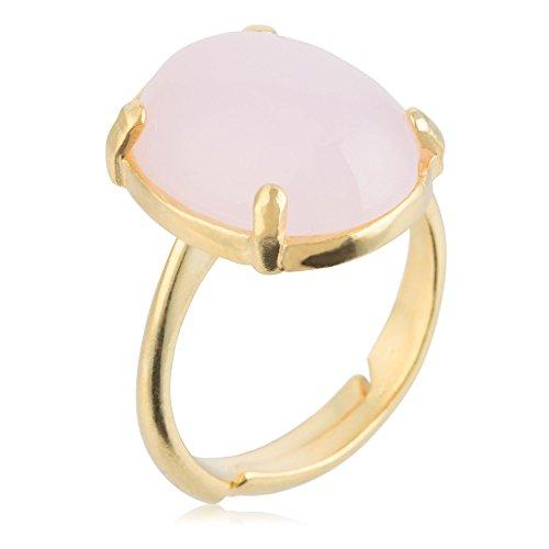 Córdoba Jewels | Sortija en Plata de Ley 925 bañada en Oro con Piedra semipreciosa con diseño Oval Rosa de Francia Gold