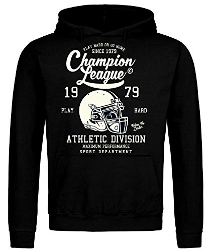 Champion League - Sudadera con capucha para fútbol americano Negro S