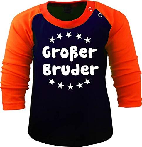 Baby/Kinder Baseball Langarm T-Shirt (Farbe: Navy-orange) (Gr. 98/104) Großer Bruder