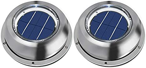 ECO-WORTHY Solar Ventilation Fan w/Battery for Roof, Attic, RV, Boat, Greenhouse - Stainless Steel (2 Pack)