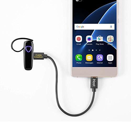 USB C auf Micro USB Kabel OTG, CableCreation 20cm USB-C(Typ-C) zu USB 2.0 Micro-USB-Kabel, USB-C kurzes Kabel für Apple MacBook, Chromebook Pixel, Android Phones, Galaxy S8/S8 Plus usw, Schwarz