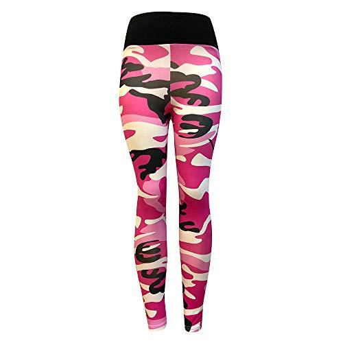 Camouflage Sporthose Damen Lang Eng Yogahosen Trainingshose Tights Shape Stretch Leggings für Workout Gym Sport Yoga Joggen Trainings Fitness Laufen Hosen riou New (M, Pink)