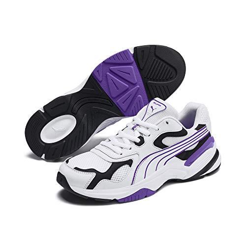 PUMA - Sneaker Supr da uomo, bianco (Puma White-puma Nero-Viola Glimmer), 40 EU