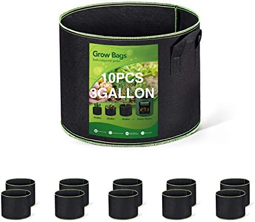 HOUSE DAY Bolsa de Cultivo (Paquete de 10) - 20 litros / 3 galones Maceta de Cultivo con asa Negro - Bolsas de Tela no Tejida para Plantas para Orgánico de Vegetales, Flores y Plantas