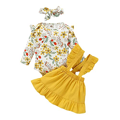 Infant - Conjunto de falda y falda con volantes, manga larga, pelele y camiseta amarillo 6-12 Meses