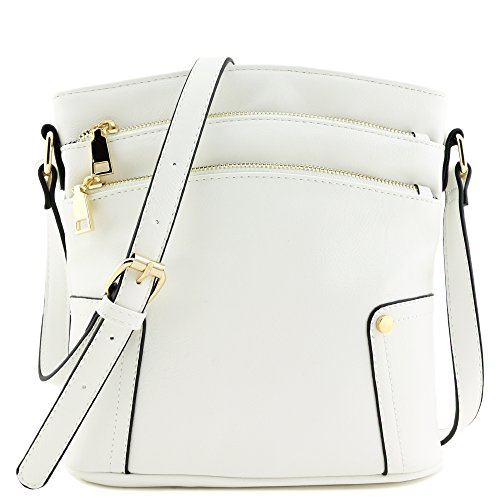 Triple Zip Pocket Medium Crossbody Bag (White)