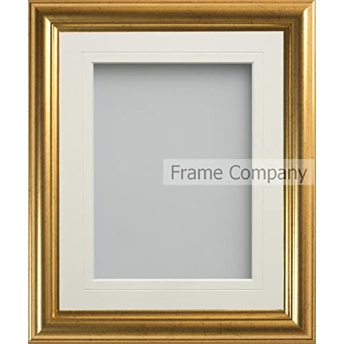 96d8ada44bf1 Frame Company Eldridge Range 10x8 Inch Gold Picture Photo Frame with Ivory  Mount for image size