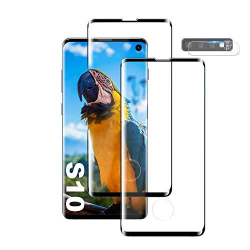 DIREARY Galaxy S10 Film Protection Ecran Verre Trempé, [2 Pièces] [Full Coverage] [Dureté 9H] [Ultra Claire] [Anti Rayures] Film Protecteur en Verre trempé de Haute qualité pour Samsung Galaxy S10