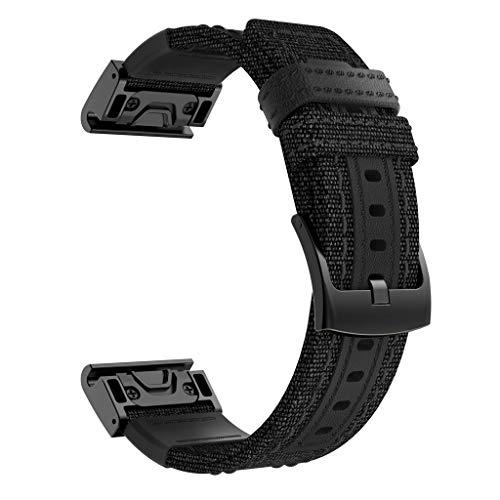 Neubula - Correa de recambio de tela compatible con Garmin Fenix 5X, 5X Plus, Fenix 3/3 HR, ajustable, repuesto para pulsera de hombre y mujer negro Negro