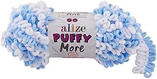Alize Puffy More ,2 Skeins 10.58 Oz 24 Yds 100% Micropolyester ,Loop Yarn, Blanket Yarn, Velvet Yarn, Easy Knitting Yarn, ...