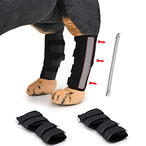 2 Pcs Dog Knee Brace, Dog Acl Brace Hind Leg, Dog Knee Brace for Hind Leg, Dog Leg Brace for Heals...