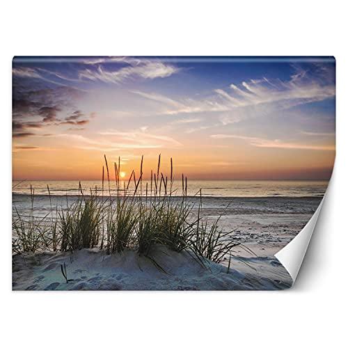 Feeby Wandtapete Fototapete Vlies Strand Sonnenuntergang 254x184 cm Orange Modern Tapete Wohnzimmer Schlafzimmer Gras Düne Meer