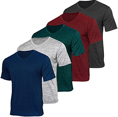 5 Pack:Men's Athletic V Neck T-Shirt Quick Dry Fit Dri-Fit Short Sleeve Active Wear Training Exercise Fitness Workout Tee Fitness Gym Workout Clothing...