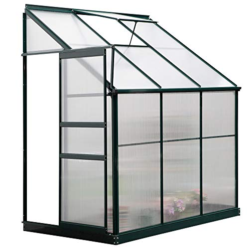 Outsunny Walk-in Garden Aluminum Polycarbonate Greenhouse with Roof Vent for Plants Herbs Vegetables 6' x 4' x 7'