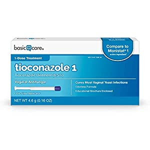 Amazon Basic Care Tioconazole Ointment 6.5 Percent, Vaginal Antifungal; 1-Dose Treatment for Vaginal Yeast Infections