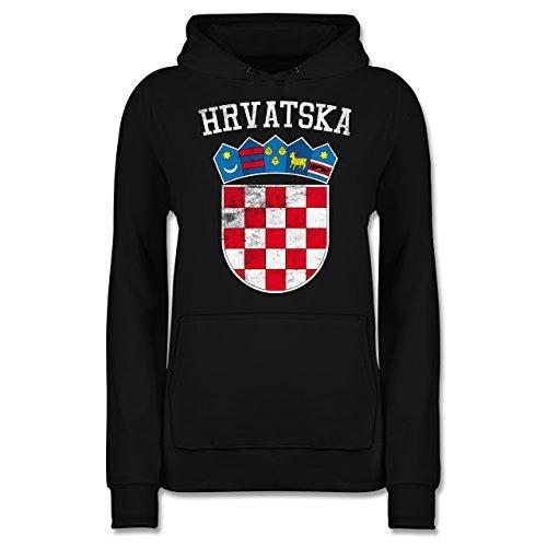 Fußball-Europameisterschaft 2020 - Kroatien Wappen WM - S - Schwarz - JH001F - Damen Hoodie und Kapuzenpullover für Frauen