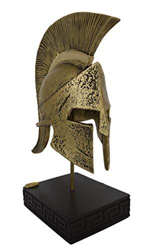 Talos Artifacts Helm des Leonidas, König der Spartaner, Alabaster, kleine Skulptur mit Bronze-Effekt