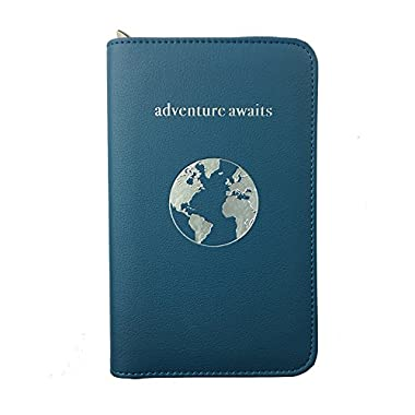 Phone Charging Passport Holder Travel Case w/Power Bank-iPhone, Galaxy & More-RFID (Cerulean)